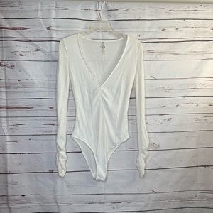 Free People Soft Knit Ruched Arm Bodysuit